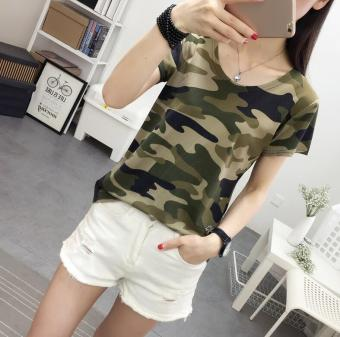Women's Korean-style Camouflage Short Sleeve T-Shirt