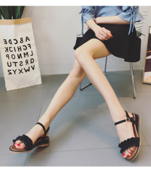 Korean-style female New style student soft bottom shoes buckle sandals (Black)