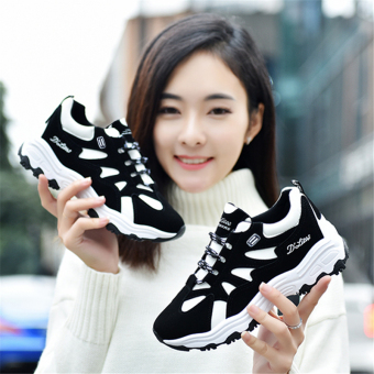Korean-style female versatile casual shoes New style sports shoes (Black)