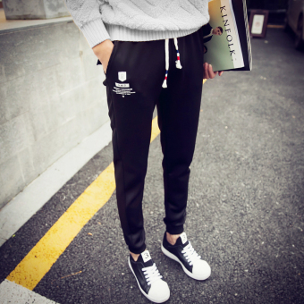 Korean-style HarLan student Slim fit sports pants ankle-length pants (R black casual pants)