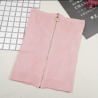 Korean-style knit solid color spring and summer boob tube top (Pink)