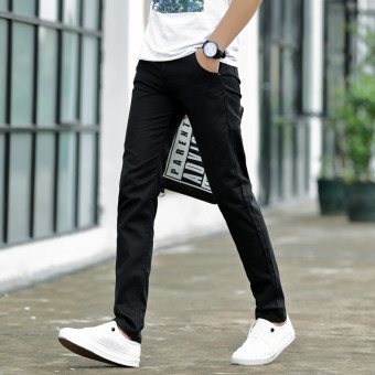 Korean-style men stretch Slim fit feet pants men's casual pants (Black 919 paragraph)