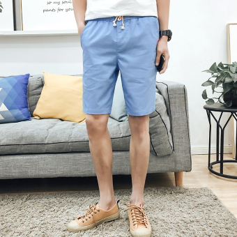 Korean Men summer slim-fit cropped pants casual Short (Cowboy blue) (Cowboy blue)