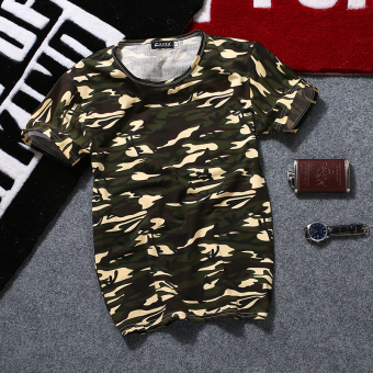 Korean-style men's Short sleeve student men's Top solid color short sleeved t-shirt (Camouflage green short sleeved)