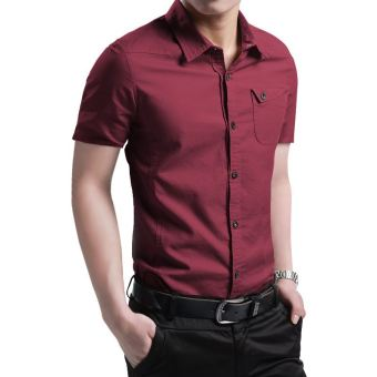 Korean-style men's short sleeved men Short sleeve shirt long-sleeved shirt (Purplish red color short sleeved)