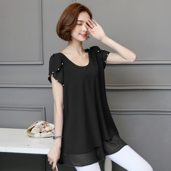 Korean-style mid-length slimming Plus-sized female Top short sleeved t-shirt dress (Black)