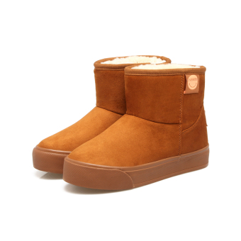 Korean-style Plus velvet warm short boots versatile snow boots (Chocolate)