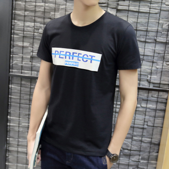 Korean-style round neck Slim fit printed Short sleeve Top T-shirt (Short sleeved Slim fit black PT)