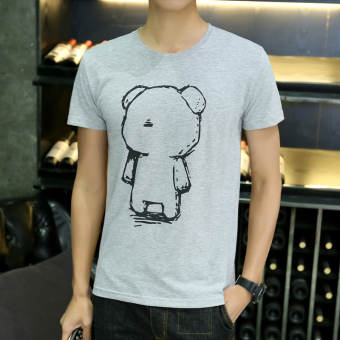 Korean-style round neck Slim fit printed Short sleeve Top T-shirt (Short sleeved Slim fit gray Bear)