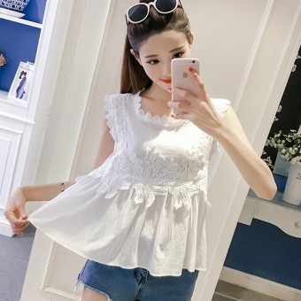 Korean-style sleeveless elegant slimming female Top lace shirt (White)