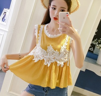Korean-style sleeveless elegant slimming female Top lace shirt (Yellow)