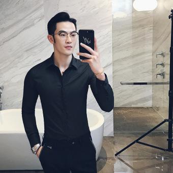 5a9938d9de0 Men Shirt Slim Fit Business Professional Formal Wear Korean Style Long  sleeve Blouse Young Men s Shirt Best Man Autumn Base Shirt