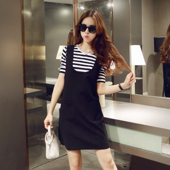 Korean-style spring and New style short sleeved striped female T-shirt (Short sleeved t-shirt + strap dress)