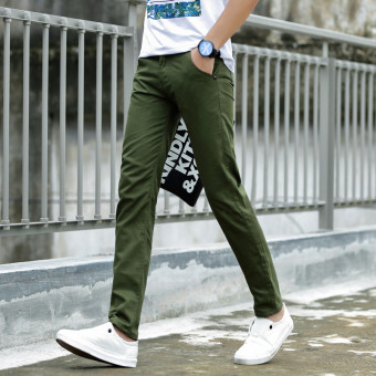 Korean-style spring student Slim fit long pants men's casual pants (Dark green color [This section 3)