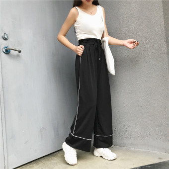 Korean-style student high-waisted slimming versatile pants autumn pants (Black)