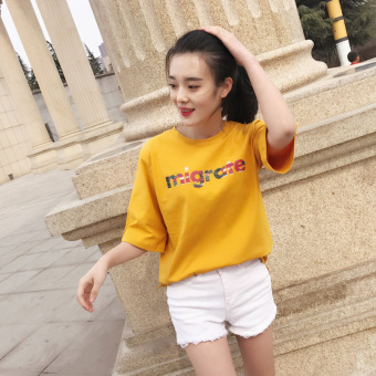 Korean-style white women's short sleeved loose Top T-shirt (Ginger yellow) (Ginger yellow)