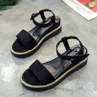 Korean-style women's student flat sandals (Black)
