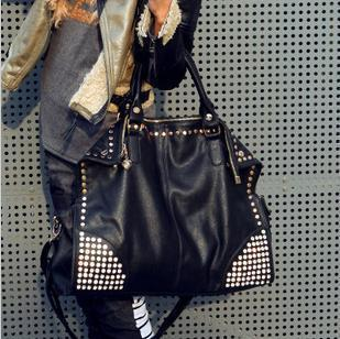 Women's Korean-style Stylist Rhinestones and Rivets Large Bag