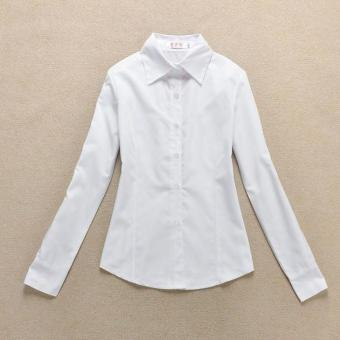 Korean-style Cotton Short sleeved Short sleeve work clothes white women's shirt (White long sleeve) (White long sleeve)