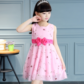 Lace children princess girls' tank dress (Pink [Suihua dress]) (Pink [Suihua dress])