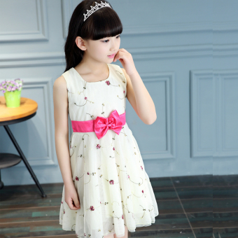 Lace children princess girls' tank dress (Yellow [Suihua dress]) (Yellow [Suihua dress])