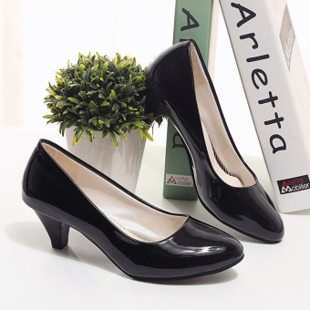 Ladies' patent leather Black Spring and Autumn women's shoes dress shoes (Black fine with (5 CM)) (Black fine with (5 CM))