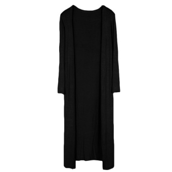 Lady Women Modal Solid Color Long Sleeve Casual Slim Long Knitted Cardigan Coats Outwear Shawl Black - intl