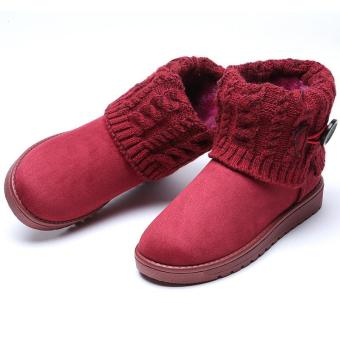 LALANG Women Snow Boot Ankle Short Boots Winter Warm Platform Shoes Wine red