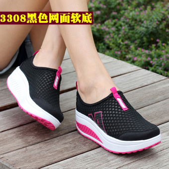Leather-bound spring-summer New style female Rubber shoes Sneakers rocking shoes (3308 mesh-black)