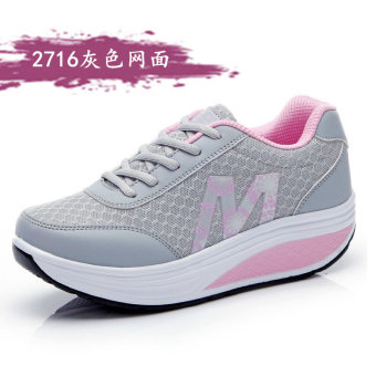 Leather-bound spring-summer New style female Rubber shoes Sneakers rocking shoes (Gray 2716)