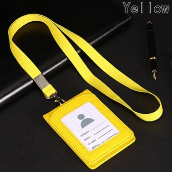 Leather Wallet Credit Card Badge Holder with Lanyard and 3 Slots Fit for ID Card Yellow