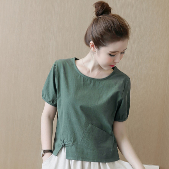 Linen New style short-sleeved loose shirt T-shirt (Dark green color)