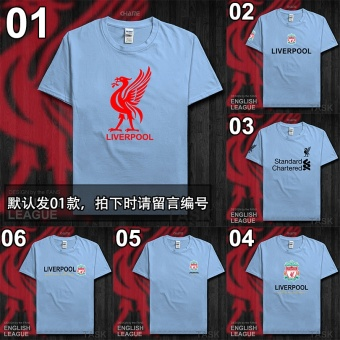 Liverpool cotton men Champions League football jersey T-shirt (Short sleeved light blue RED WORD)