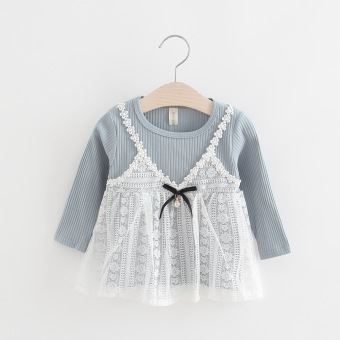 Long-sleeved princess dress Dress (Light blue-straps lace dress) (Light blue-straps lace dress)