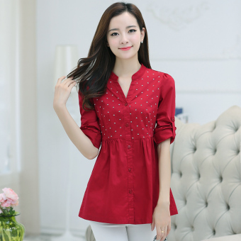 LOOESN casual female long-sleeved New style Shirt shirt (Red)