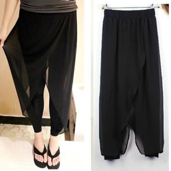 Loose-fit chiffon black base cropped harem pants