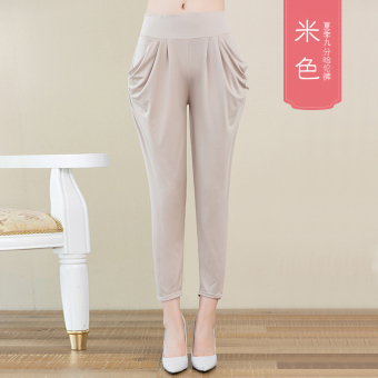 LOOESN chiffon Female Summer thin casual women's pants harem pants (Ankle-length beige)
