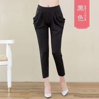 LOOESN chiffon Female Summer thin casual women's pants harem pants (Ankle-length black)