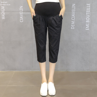 Loose cotton linen summer thin outerwear maternity pants pregnant women's leggings (Black)