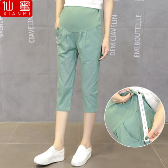 Loose cotton linen summer thin outerwear maternity pants pregnant women's leggings (Light Green)