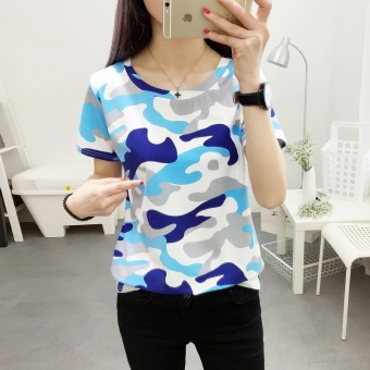 Loose Korean camouflage short-sleeve T-shirt (366 (blue camouflage)) (366 (blue camouflage))