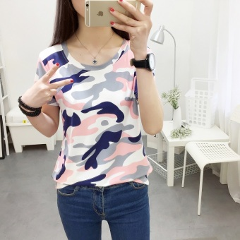 Loose Korean camouflage short-sleeve T-shirt (366 (powder camouflage)) (366 (powder camouflage))