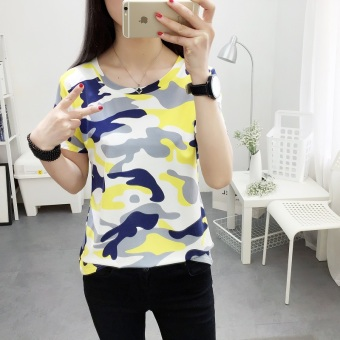 LOOESN Korean-style camouflage short sleeved t-shirt (366 (yellow camouflage))