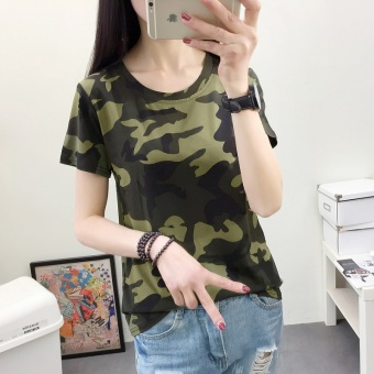 Loose Korean camouflage short-sleeve T-shirt (490 (green camouflage)) (490 (green camouflage))
