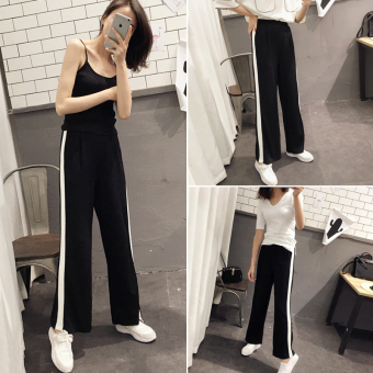 LOOESN stitching slimming side of the white wide leg pants