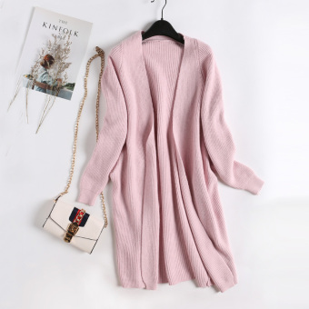 Loose versitile fashion plain female slimming knit cardigan New style men's sweaters (Pink)