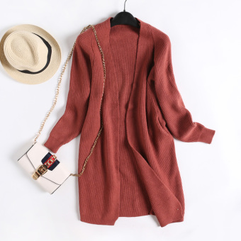 Loose versitile fashion plain female slimming knit cardigan New style men's sweaters (Rust Hong)