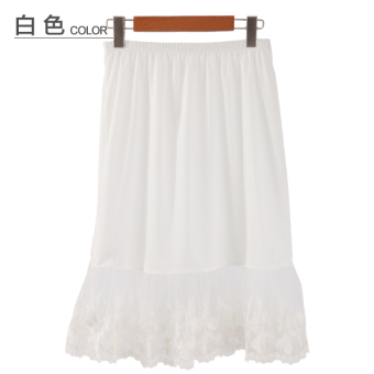 Loose a word skirts anti emptied lace lined with bottoming dress(White) (White)