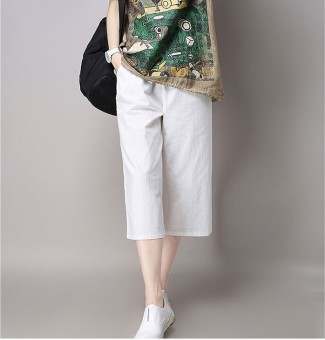 Loose artistic cotton linen Plus-sized breathable women's pants cotton linen pants