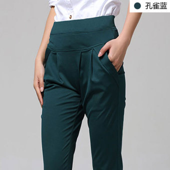 Loose Korean female big yards high waist leggings pants harem pants (Capri pants-Peacock blue)